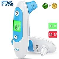 Termómetro Digital, Ltiben Termómetro Infrarrojo para la Frente y el oído, Termómetro Profesional para Niños y Adultos con Indicador de Temperatura, Aprobación CE y FDA (Batería Incluida)
