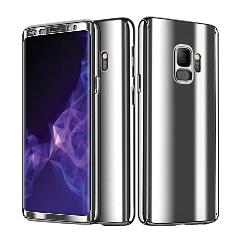 S9 Plus Hülle Handyhülle 3 In 1 Ultra Dünn Stoßfest Fullbody Front Back Double Beidseitiger Hart PC Plastik Compatible mit Samsung Galaxy S9 5.8 Zoll (Silber) ()