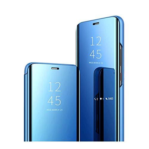 Clear View Case für das Huawei P30 Pro Hülle,PC Hard Hülle, Hülle Huawei P30 Pro Mirror Make-Up Schutzhülle Flip Cover mit Standfunktion handyhülle für Huawei P30 Pro.(Blau)