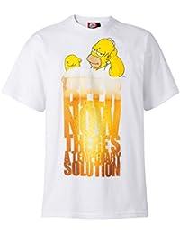 "The Simpsons Herren T-Shirt ""Duff Beer - A Temporary Solution"", 100% Baumwolle, weiß"