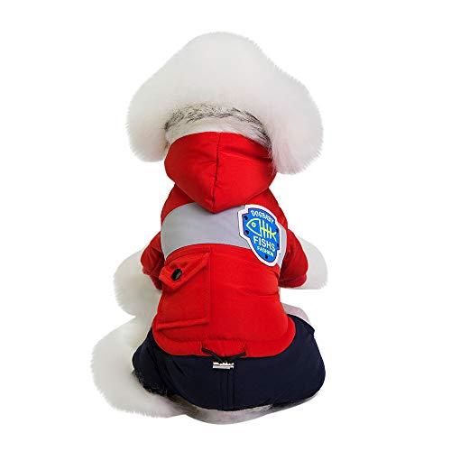 (Fenverk Katze Hund Mantel Jacke Haustier VorräTe Kleider Winter Bekleidung HüNdchen KostüM Kalt Weste Warm Outfit Zum Klein Mittel Groß Hunde(rot,L))