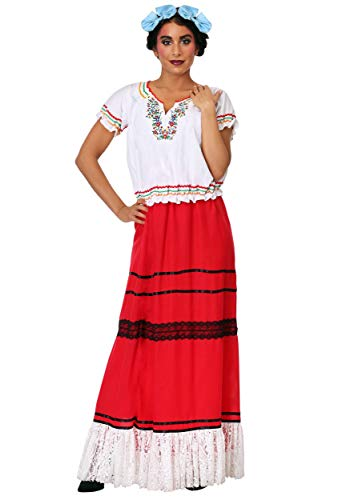 Women's Red Frida Kahlo Fancy Dress Costume Small