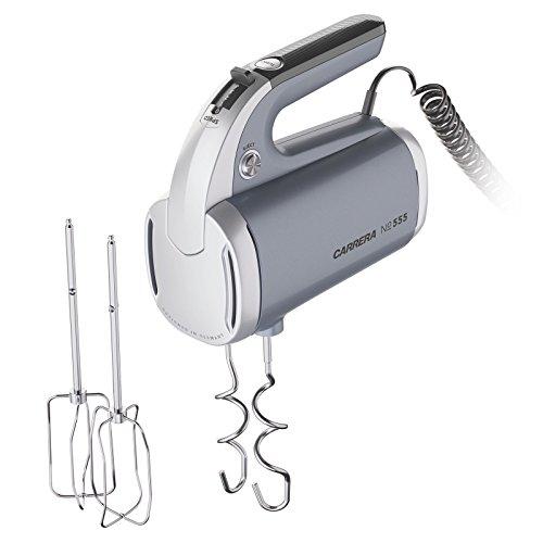 Carrera elektrischer Handmixer No 555, 2 Aufsätze (Schneebesen und Knethaken aus Edelstahl), Kunststoff, Anthrazit-grau