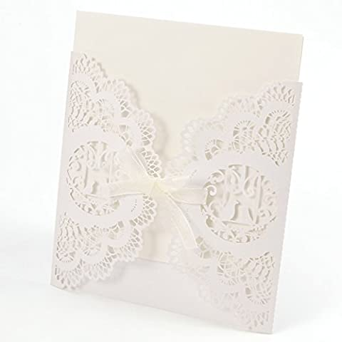 20er Ivory Weiss Einladungskarten Elegante Vogelkäfig Spitze Design mit Karten, Umschläge, Einlegeblätter zum Selbstbedrucken Hochzeit Geburtstag Taufe Party Einladung