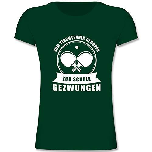 Sport Kind - Zum Tischtennis geboren. Zur Schule gezwungen - 164 (14-15 Jahre) - Tannengrün - F131K - Mädchen Kinder T-Shirt
