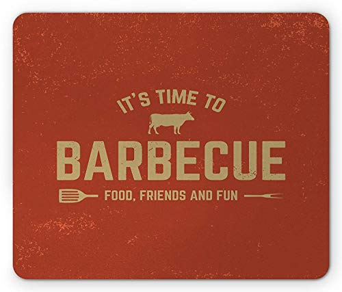 Drempad Gaming Mauspads, BBQ Party Mouse Pad, Its Time to Barbecue Food Friends and Fun Quote with Cow Grunge Backdrop, Rectangle Non-Slip Rubber Mousepad, Pale Khaki and Rust 9.8 X 11.8 INCH -