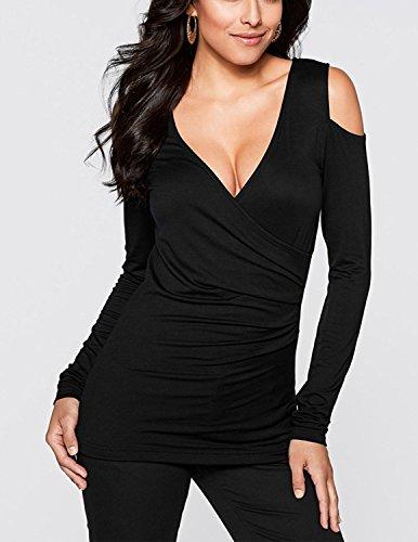 Sitengle Damen Off Shoulder Langarmshirt V-Ausschnitt Elastizität T Shirt Bluse Oberteile Tunika Tops Grau