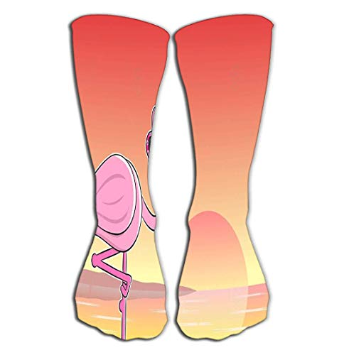 Kotdeqay Outdoor Sports Men Women High Socks Stocking Cartoon Flamingo Sunglasses Fashion Tile Length 19.7
