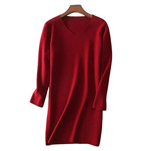 QINJLI Herbst/Winter mittellange Kaschmir Pullover mit V-Ausschnitt Treggings Damen Langarm Slim Pullover über Knie unten (De V-pullover)