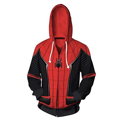 Zhangjianwangluokeji Weit Weg von zu Hause Spider Peter Parker Kostüm Halloween-Spiel Cosplay Zip Up Hoodie Jacke (L, Stil 1)