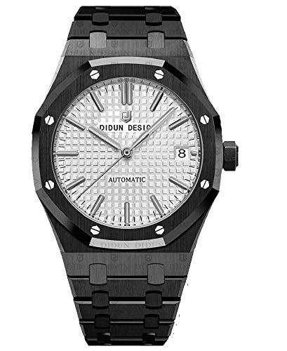 erren Automatik Uhr, Saphirglas, massives Armband, Miyota Uhrwerk, Didun Royal One Schwarz/Weiß ()