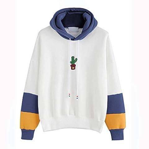 Hirolan Mode Damen Lange Hülse Kaktus Drucken Kapuzenpullover Sweatshirt Mit Kapuze Zur Seite fahren Tops Bluse Baumwolle Mischung (Blau, M)