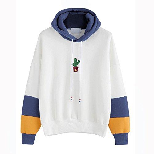 Hirolan Mode Damen Lange Hülse Kaktus Drucken Kapuzenpullover Sweatshirt Mit Kapuze Zur Seite fahren Tops Bluse Baumwolle Mischung (Blau, XL) (Multi-print-bluse)