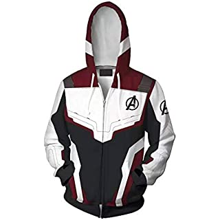 OLIPHEE Super Hero Uniform Quantum Hoodies Avenger's Endgame Sweatshirt Jacket for Adult Zip Wine XL