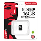 Kingston SDCS/16 GBSP MicroSD Canvas Select Class 10 UHS-I speeds Up to 80 MB/s Read (Card only) - Bring Your HD Videos to Life