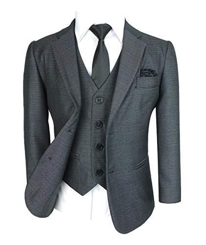 SIRRI Tailored Fit Hochzeitsset Kinder All in One Jungen Anzug, 6 Teilig in Teilig in Tonic Grau Alter 12