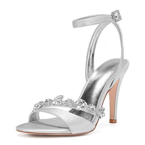 AIMISHOES Riemchen Sandalen High Heel Lady Party Show Cocktail Satin Kleid Schuhe Braut Hochzeit Pumpen mit Strass Kristall Kette Zehen,Silver,39 (Silver Womens Cocktail Kleider)