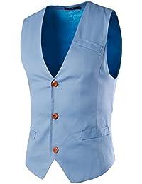 LIANIHK Clásico Waistcoat Chaleco Hombre Blazers Sin Mangas 5 colores