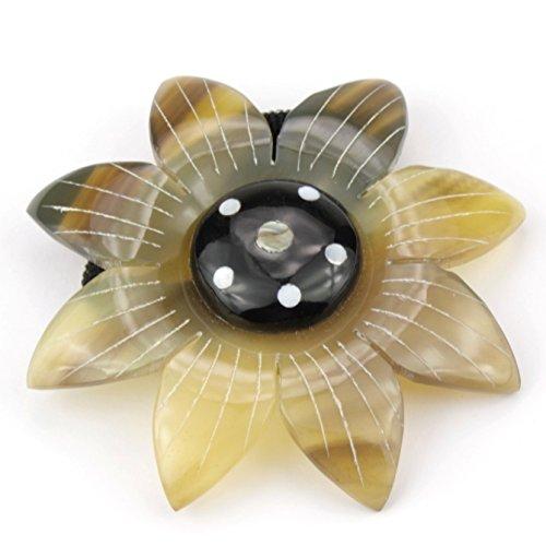 Chou chou Elastique à cheveux en véritable corne - Large fleur incrustée de nacre Paua
