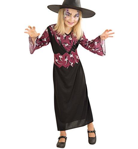 Hexenkostüm für Kinder, Halloweenkostüm, Kinderkostüm, in schwarz lila (140) (Schwarz Und Lila Narr Kinder Kostüme)