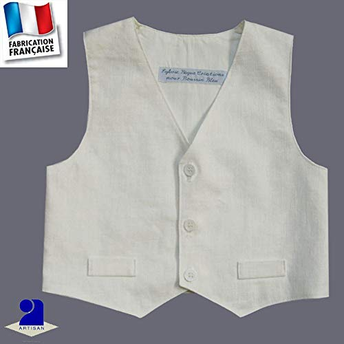 Poussin bleu - Gilet sans manches en lin, baptême, mariage Made In France  Taille 4a0726654cce