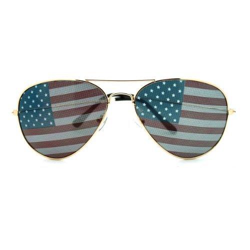 Unbekannt Unknown Patriotische amerikanische Flagge in Print-Objektiv Flieger-Sonnenbrille - Mittel Gold