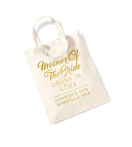 Mother Of The Bride - Drunk In Love - Small Canvas Fun Slogan Tote Bag Natural/Gold