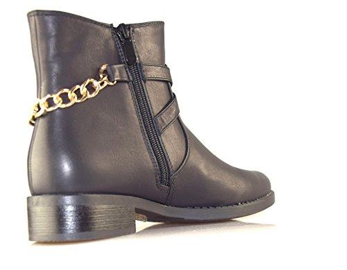 BTS-bottines pour femme avec fermeture éclair-nouvelle collection automne/hiver 2014/15, coloris :  noir taille 36: Noir - Noir