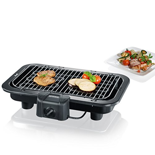 SEVERIN Gril Barbecue, Gril de table, Surface du Gril (41x26cm), 2.500W, PG 2790, Noir