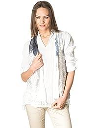 Laura Moretti - Set de dos piezas: Blusa blanca asimétrica de algodón con escote en V y chaleco calado estilo hippie con bordados
