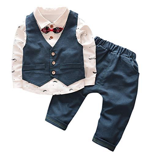 Baby Jungen Bekleidungssets Kleidung Set Hemdbody mit Fliege + Hosen+ Weste Junge Bekleidungsset Kleinkinder Gentleman Anzug Baumwolle Set Pwtchenty Kleidung Outfit Set 6M-5T - Neue Tuxedo-weste