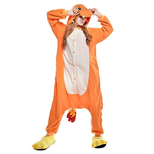 LSERVER Adulte Unisexe Animal Costume Cosplay Combinaison Pyjama Kigurumi Tenue en Flanelle Halloween Soiree de Deguisement, Jaune, S (Fit For 145-158CM)