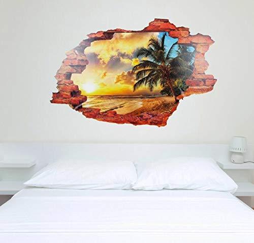 3D Aufkleberwandaufkleber 3D Ansicht Art Decals Home Strand Palm Ocean Holidays Dekoration Diy Wohnzimmer Schlafzimmer Dekor 90 Cm X 60 Cm, Multi-Color