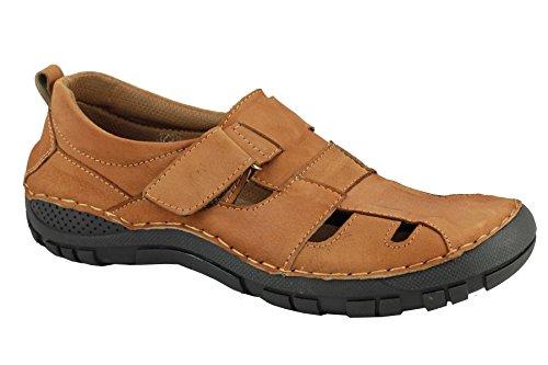 Casual Summer Holiday en cuir pour homme Bout fermé pour les sandales Sangle Velcro Chaussures à enfiler Marron - marron