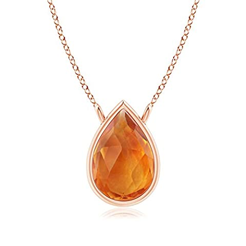 Pear-Shaped Citrine Solitaire Necklace in 14K Rose Gold (6x4mm Citrine)