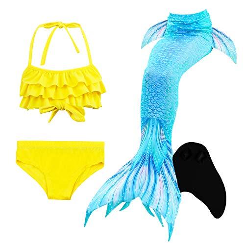 Le SSara Seemädchen Cosplay Bademode Mermaid Shell Badeanzug mit FIN Swimmable Mermaid Schwanz (110, DH53+WJF47-Black)