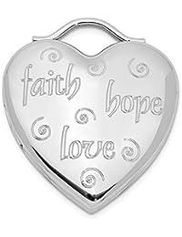 Escobilla de plata de ley chapada en rodio con diseño de corazón