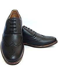 "Black Brogue Faux Leather Formal Shoes For Men( TPR Sole, Faux Leather Lined And 1.5"" Heel)"