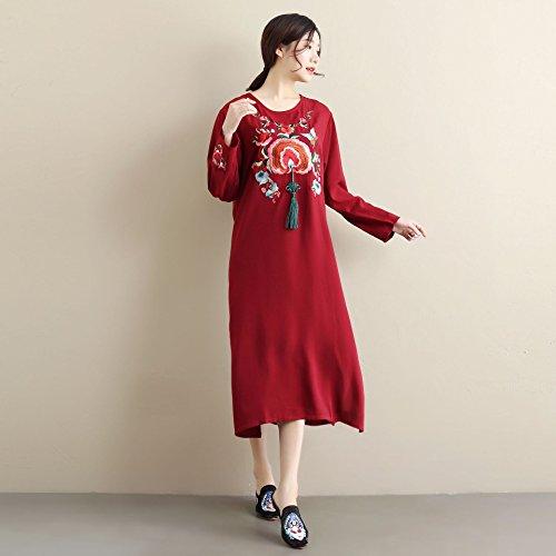 YAN Frauen Kleidung Sommer bestickte Kleid chinesischen Knoten ethnischen Quaste Kleid Rundhals mittlere Taille Kleider täglich tragen Sommerkleid (Stil : 2) -