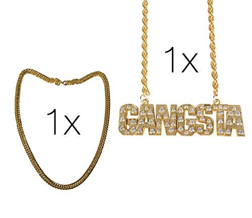 Goldkette Set Gangster Rapper ASSI Jogging Kleidung Vokuhila Kette Gold und Gangster Kette Panzerkette 80er Jahre Goldkettchen für Fasching Karneval Kleidung Kostüm für Herren und Damen