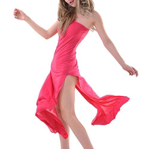 Malloom® Sexy Lingerie Minikleid Clubwear dossous Damen Babydoll Nachtwäsche Spitze Bogen Underwear Sleepwear Nightwear Dress G-string TemptationUnterwäsche blau schwarz rot gelb eine Größe (rosa) (Nachthemd Falten)