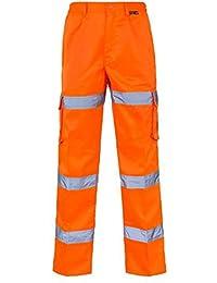 Fast Fashion - Hi Viz 3 Bandes Pantalon Cargo Au Combat De Pantalon Mens Spec De Rail Partie La Taille Élastiquée