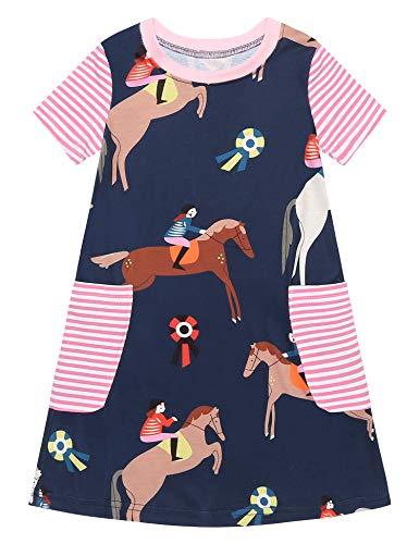 Kurzarm-shirt Reiten (Bricnat Mädchen T Shirt Kleid Kurzarm Comic Muster mit Streifen Tier Süß Cacual A-Linie Sommer 150)