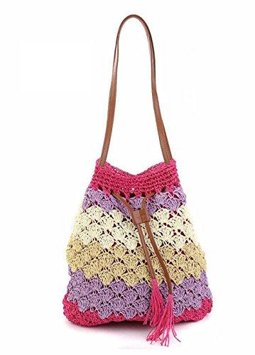 Tote di acquisto della borsa da viaggio della spiaggia della spiaggia delle donne della tazza di strato della cinghia della spalla della spalla della spalla della spalla della spalla , deep blue rose red