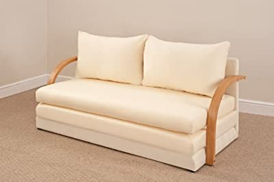 Fold Out Double Foam Sofa Bed Chloe - NATURAL - inexpensive UK sofabed store.