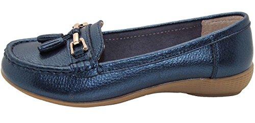 Jo & Joe Damenschuhe aus Leder, flache lässige Damenslipper, bequeme Schuhe mit niedrigem Keilabsatz, Arbeitsschuhe blau - peacock blue