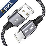 RAVIAD Cavo USB Tipo [2Pezzi, 2m] Nylon Cavo USB C di Ricarica Rapida e Trasferimento Dati per Samsung Galaxy S9/ S8/ Note9/ 8, Huawei P20/Mate20, Xiaomi Mi A2, MacBook, OnePlus 6T, Nintendo Switch