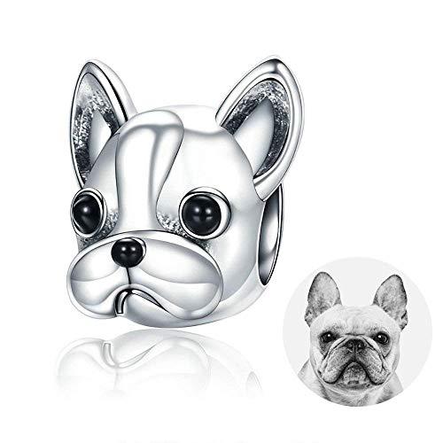 Cane Ciondolo,Fascini del pendente dell'animale del cane del bulldog francese Argento Sterling 925 Per Charms Bracciali (BJ09001)