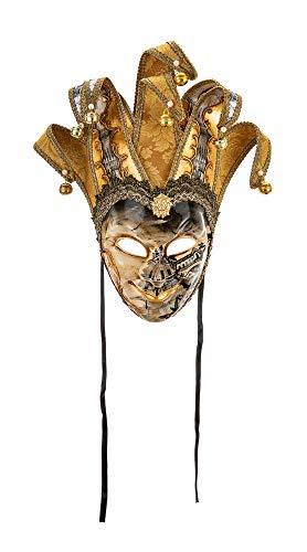 Original venezianische Deko-Maske mit Jokergesicht, handgefertigt, gemaltes Dekor und Spitzen aus goldfarbenem Damast sowie Papier mit Motiven der Stadt Venedig. Made In Italy -