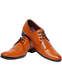AXONZA Brown Synthetic Leather Office Wear+Party Wear Lace Up Formal Shoes Lace Up For Men  (Brown)